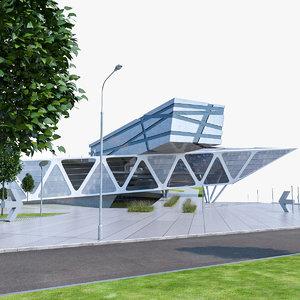 modern museum building exterior 3d max