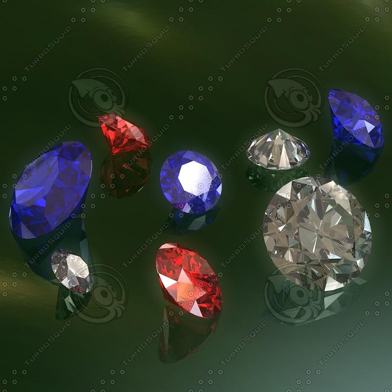 multicolored diamonds 3d model