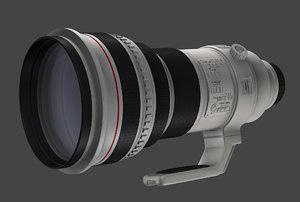 canon 400mm camera lens 3d c4d