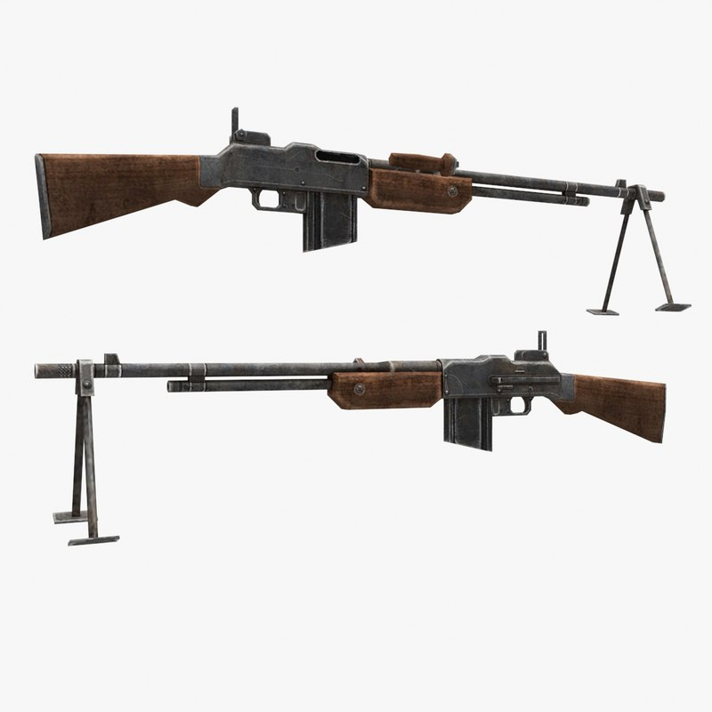 bar browning automatic rifle gun 3d max