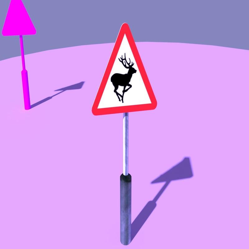 3d uk road warning signs