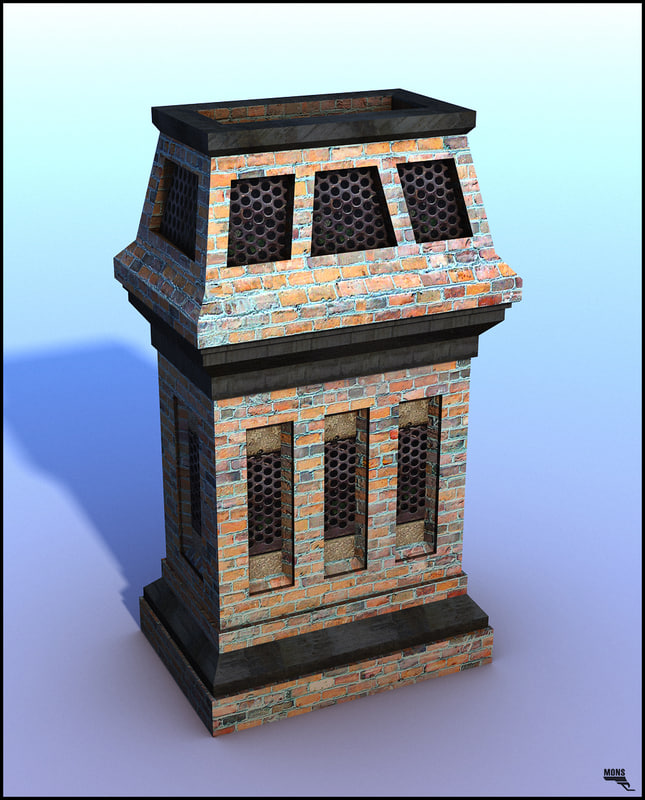 chimney brick 3d obj
