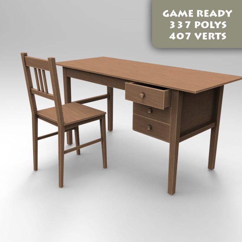 ready chair desk 3d max