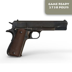 3d model ready colt 1911 pistol