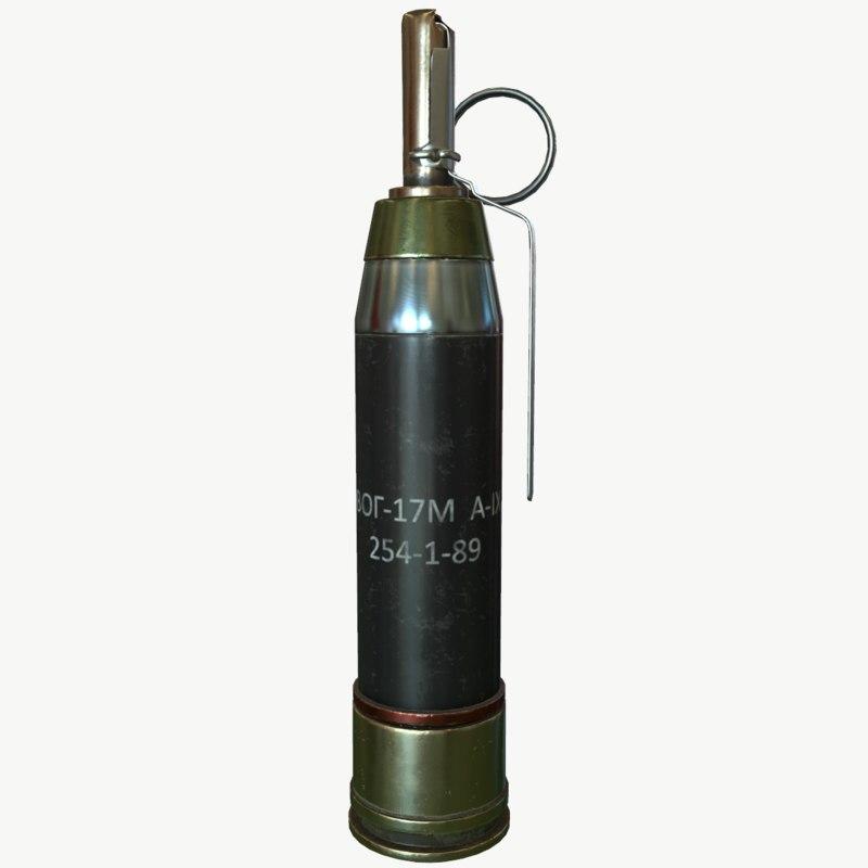 3d pbr vog-17 hattabka grenades model