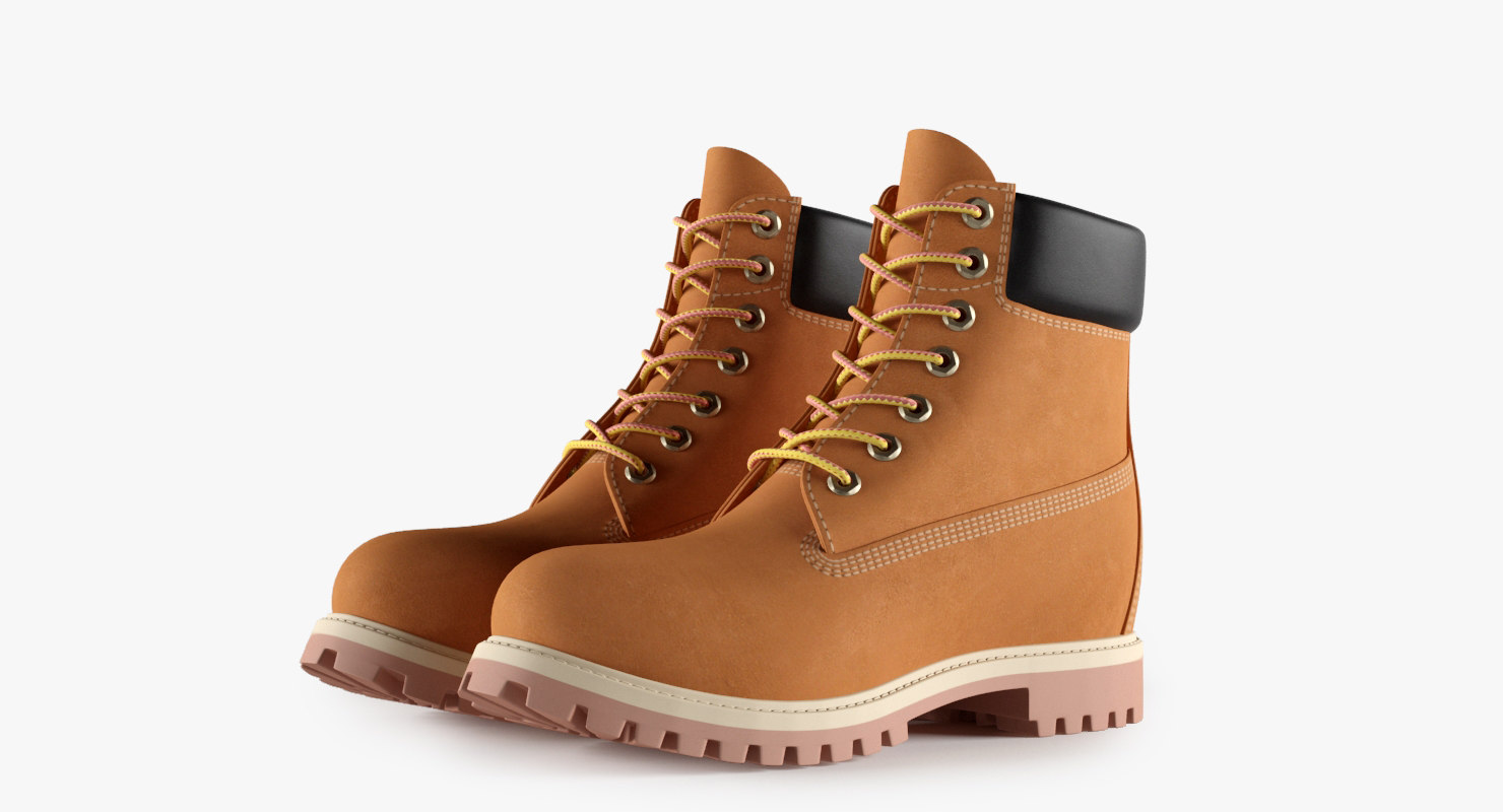 3d model color leather 6-inch boots
