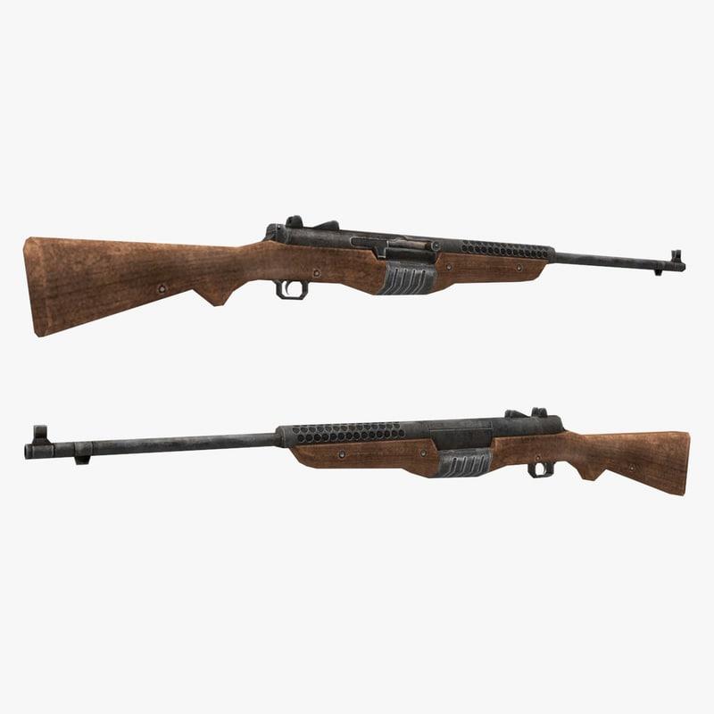 3d model johnson rifle gun