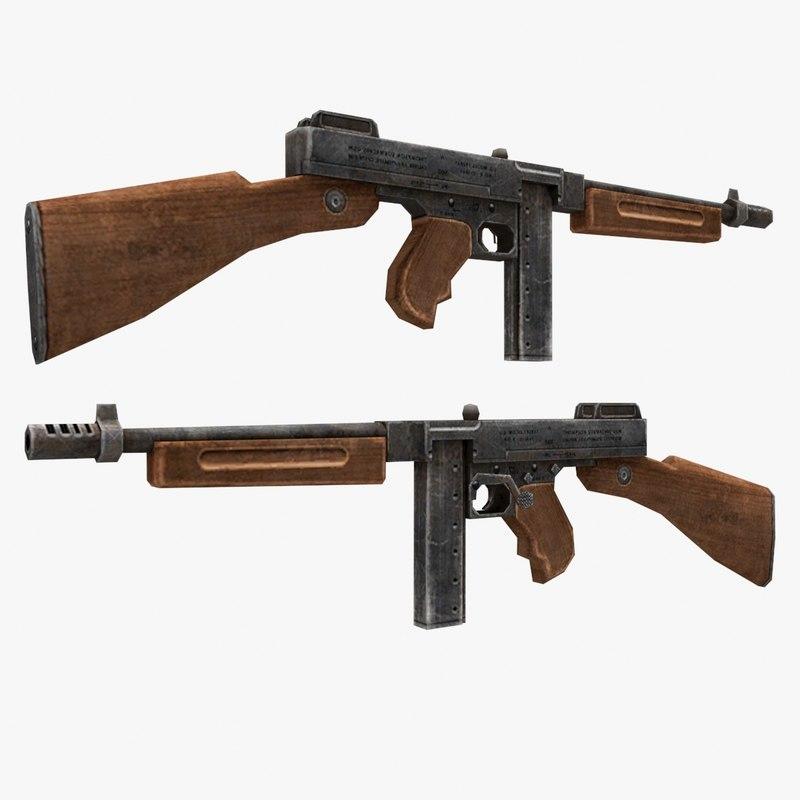 thompson gun 3d model