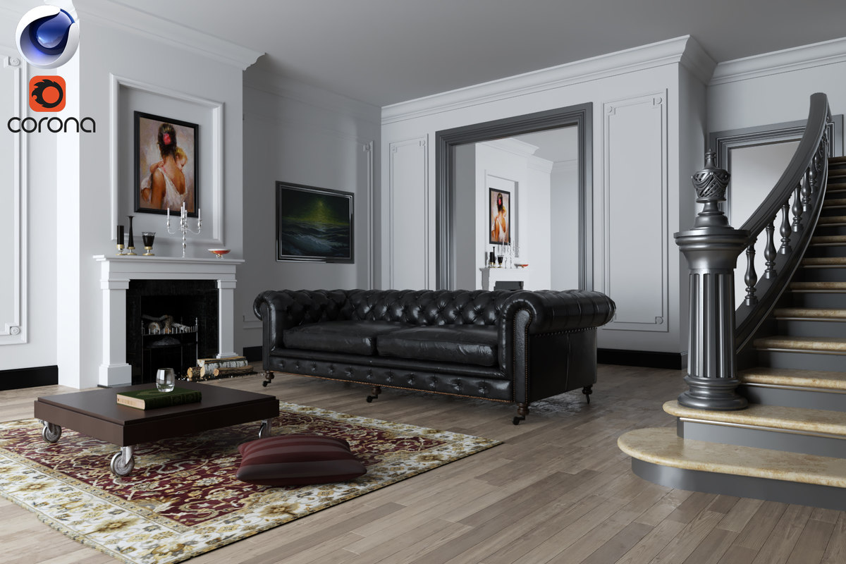 3d living room rendered corona