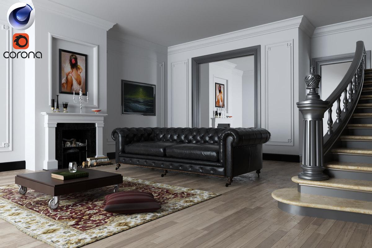 3d living room rendered corona