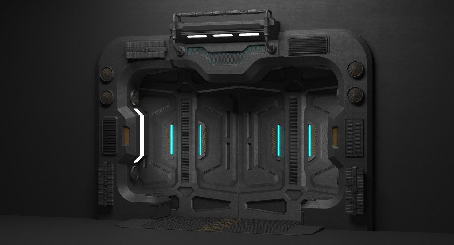 sci fi door 3d max