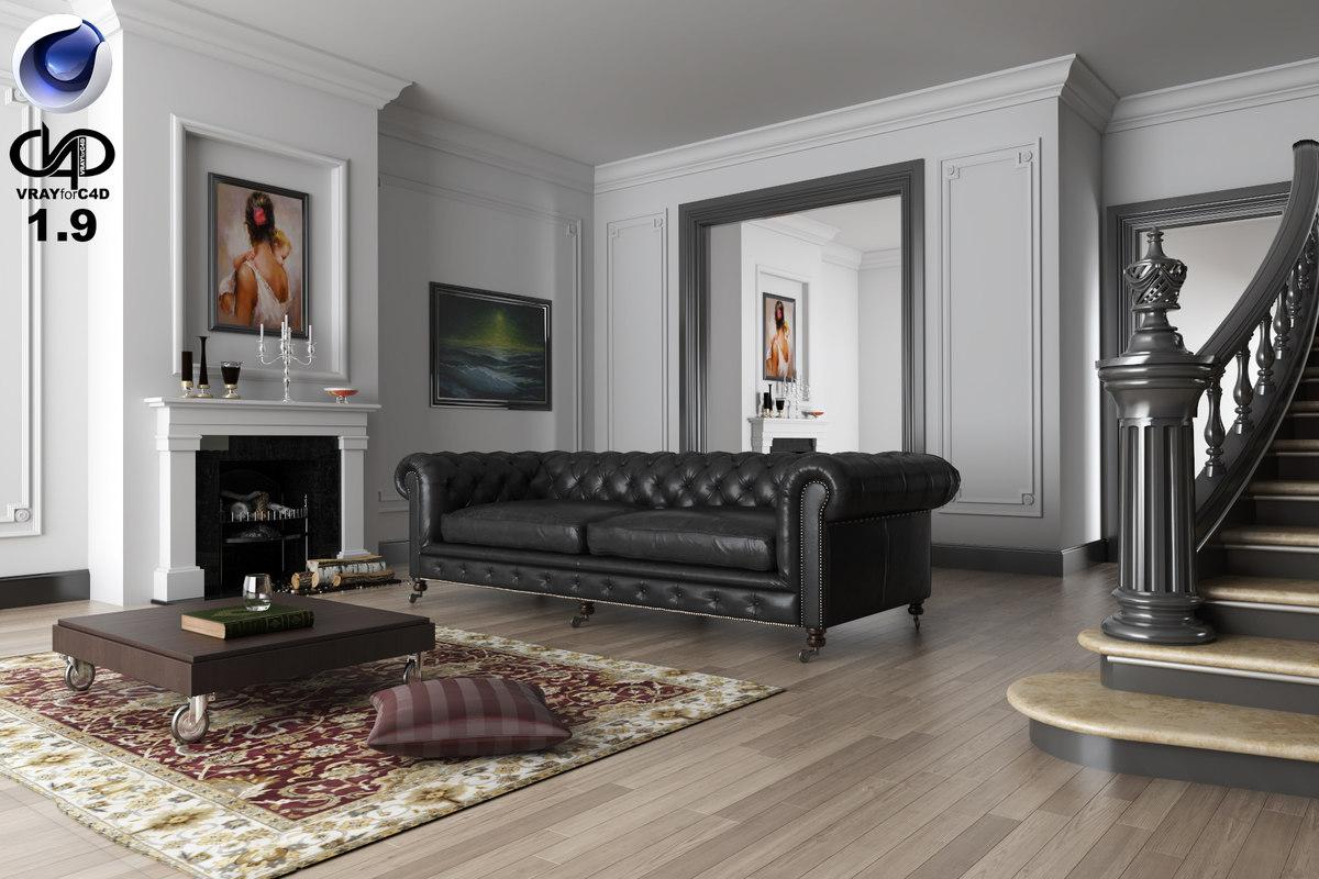 c4d living room vrayforc4d 1