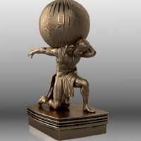 3d ancient atlas statue