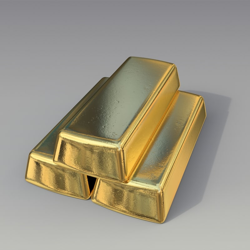 3d gold pure bullion model