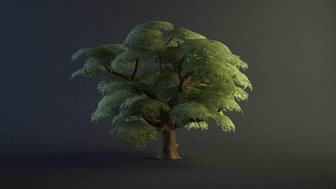 3d model cartoon tree