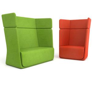 softline basket sofa armchair 3d model