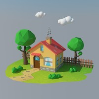 cartoon house 1 3d max