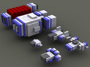 voxel spaceships ship 3d max