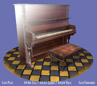 old piano stool vintage 3d obj