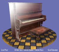 old piano stool vintage 3d obj