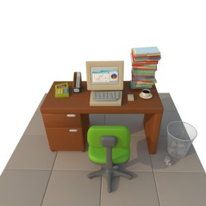 3d cartoon office desk model