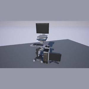 3d hospital computer cart