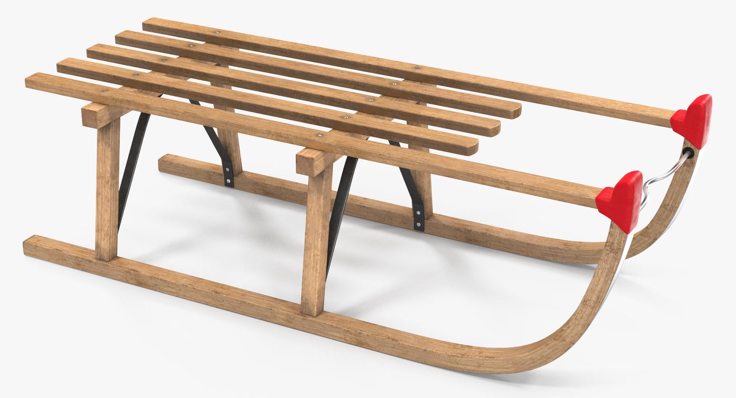 wooden sled 3d model