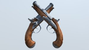 flintlock pistol 3d fbx