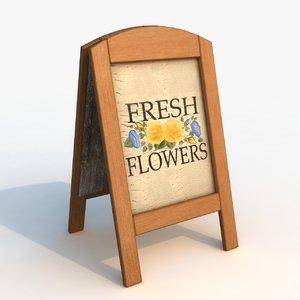 signboard flower 3d model