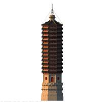 chinese buddhist pagoda 3d max