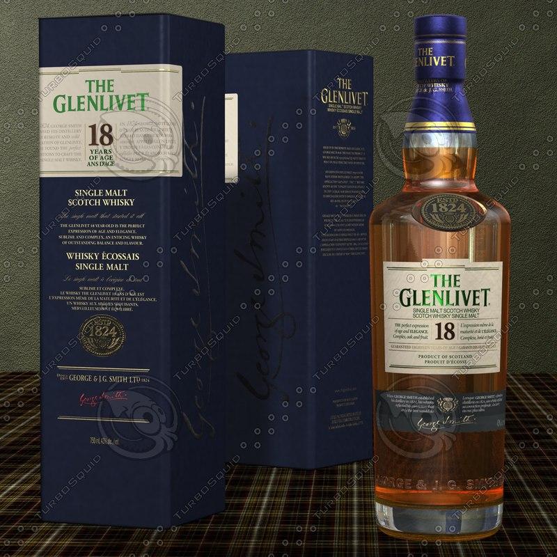 3d glenlivet scotch whisky years model