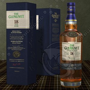 3d glenlivet scotch whisky years model