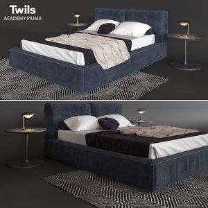 3d model bed twils academy piuma