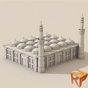 bursa grand mosque ulu 3d model