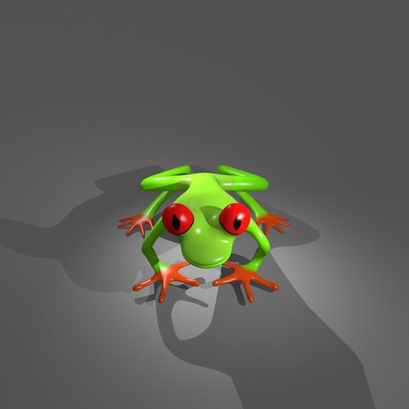 3d red eye frog model