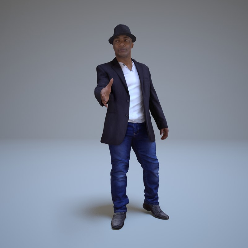 3d businessman greeting human model