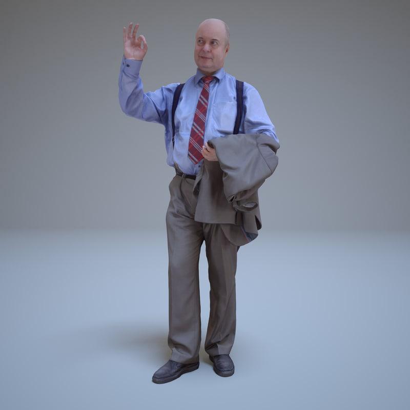 greeting businessman human 3d model