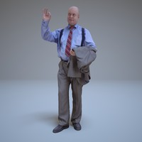 greeting businessman human 3d model