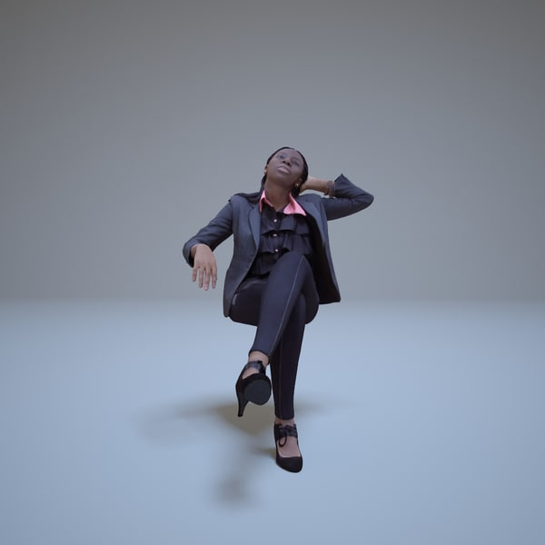 3d model business woman sitting people