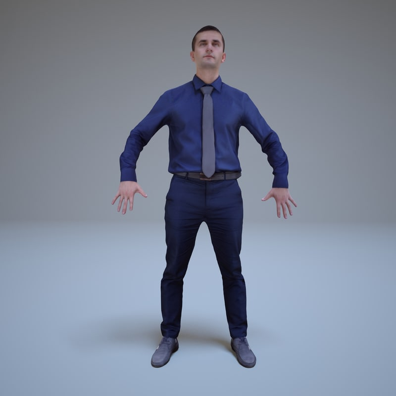 a-pose businessman human 3ds