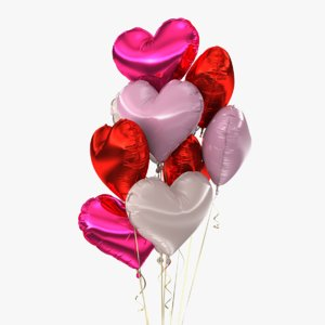 realistic bunch balloons 3d model