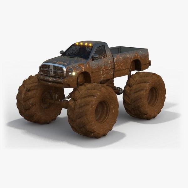 3d low-poly dirty dodge ram