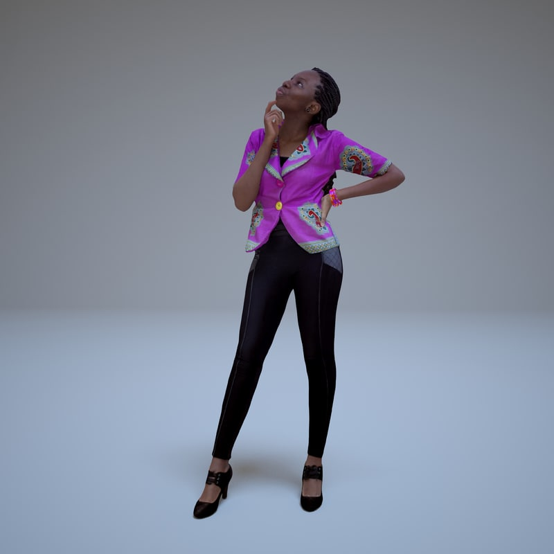 3d model business woman thinking human