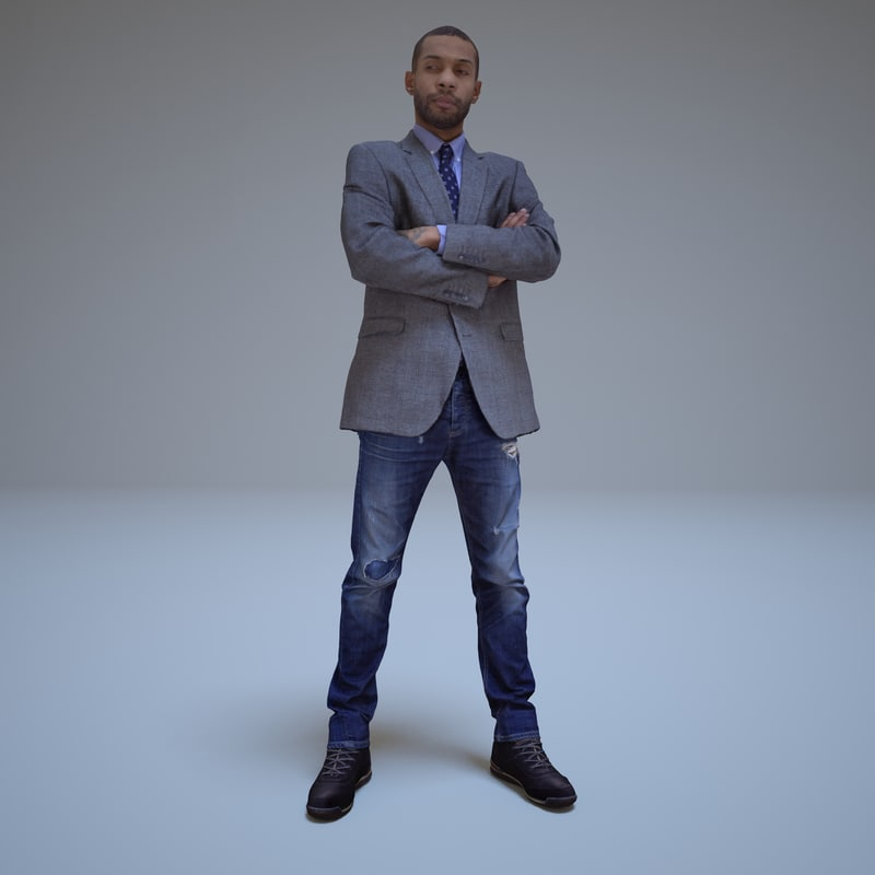 standing black businessman human 3d model