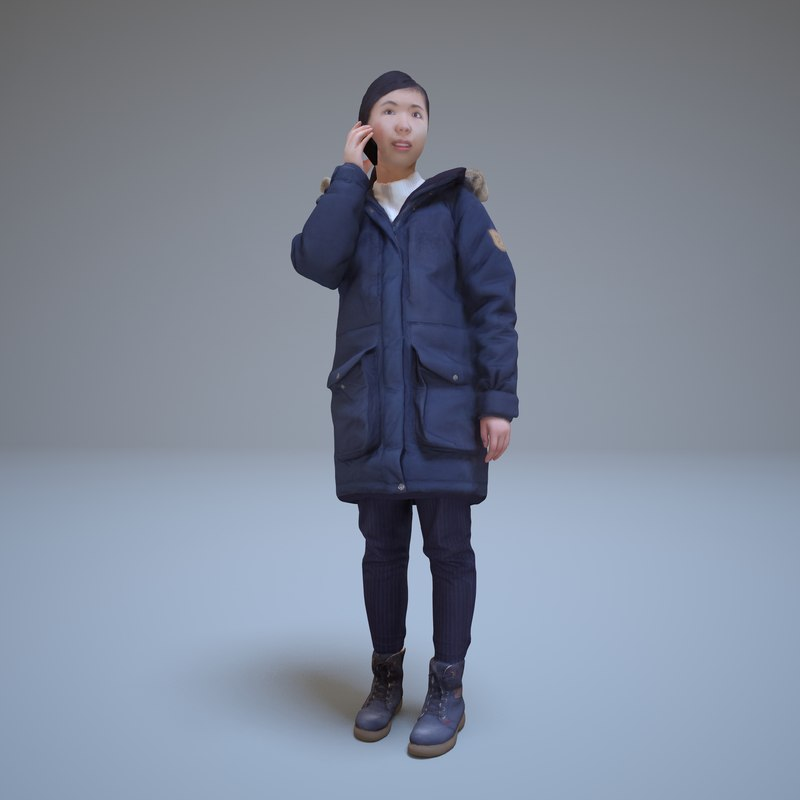 3d japanese woman phone human model