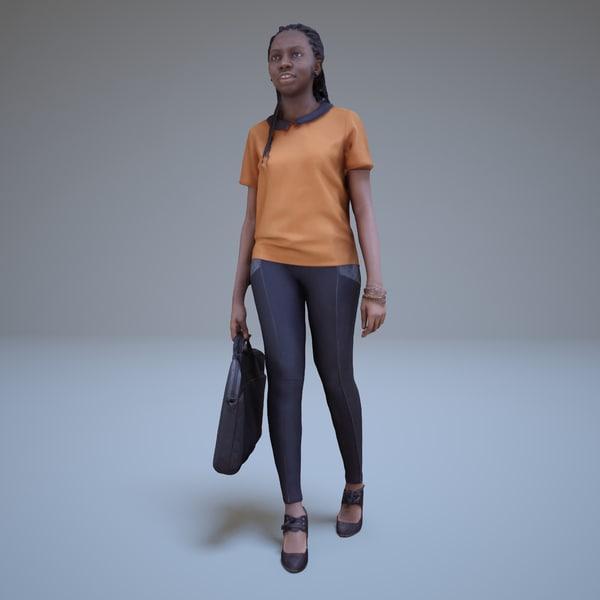 3d black woman walking people model