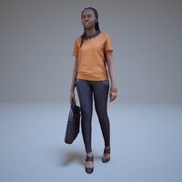 3d black woman walking people model