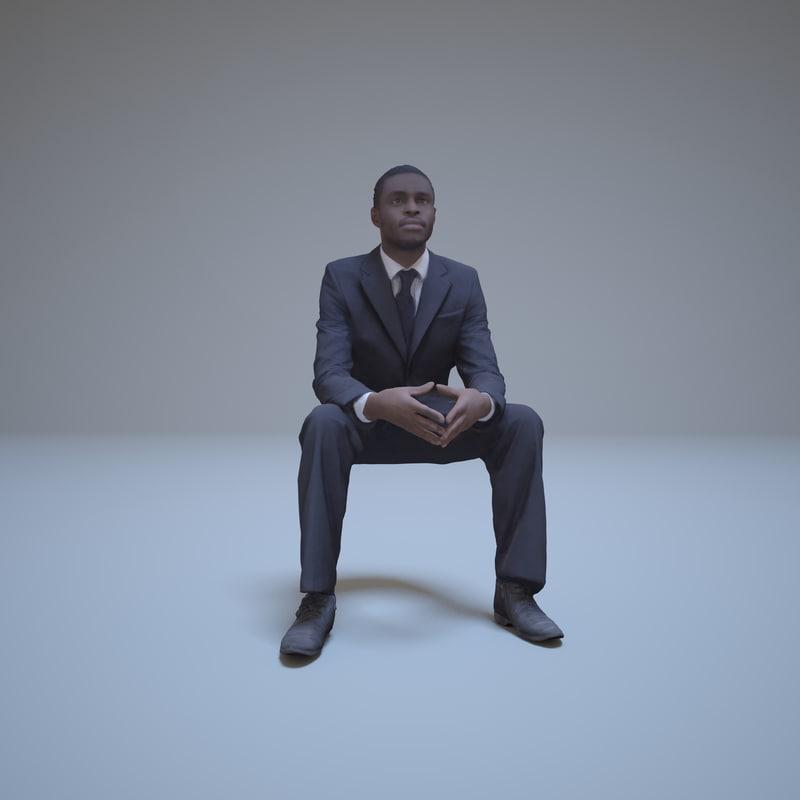 businessman black man sitting people 3d max