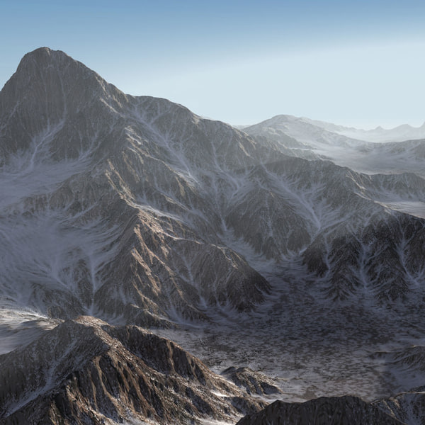 3d mountain range landscape terrain model