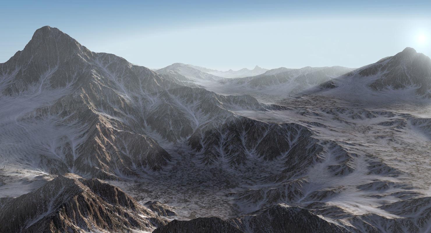 3d mountain range landscape terrain model